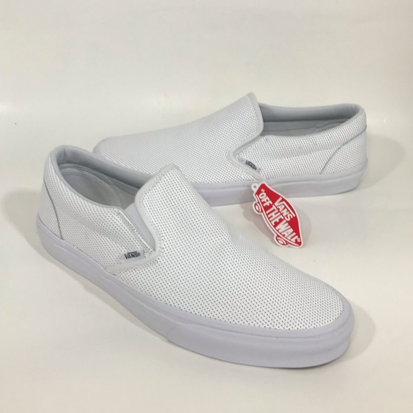 Vans Other - NWT Vans All White Perforated Leather SlipOn Shoes